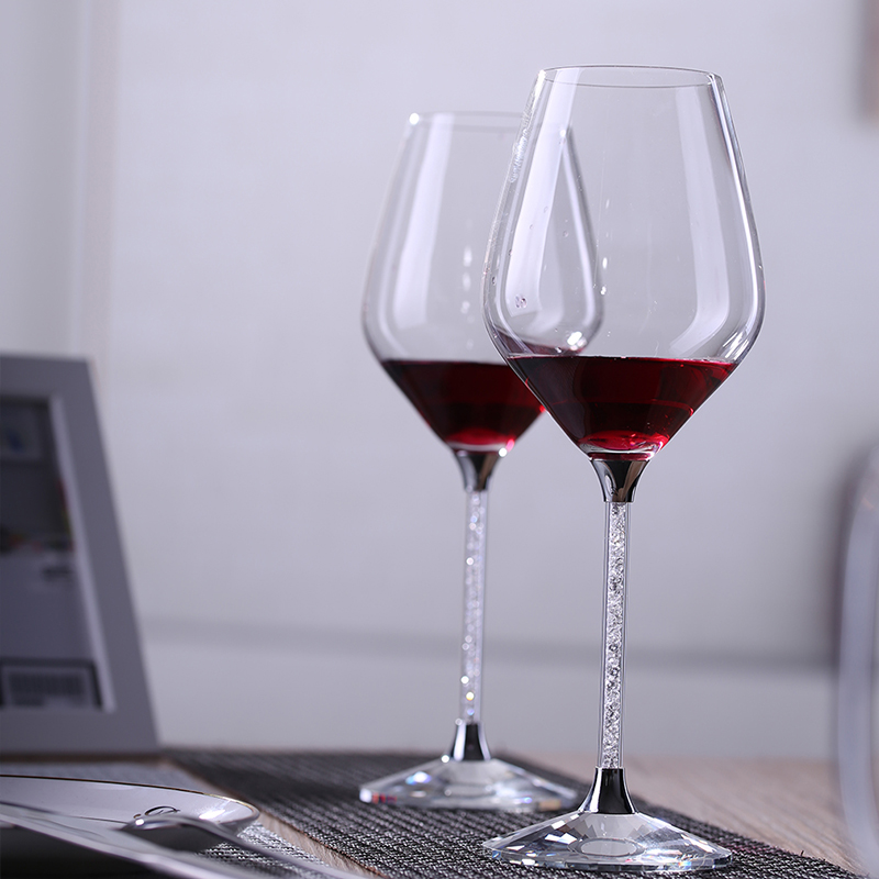 2pcs Luxury 480ml Classic Borosilicate  Glass Goblet Wine Glass With Rhinestone Filling