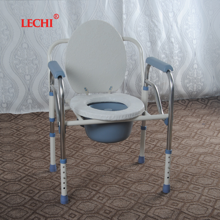 Cheaper aluminum handicapped folding commode chair without wheels