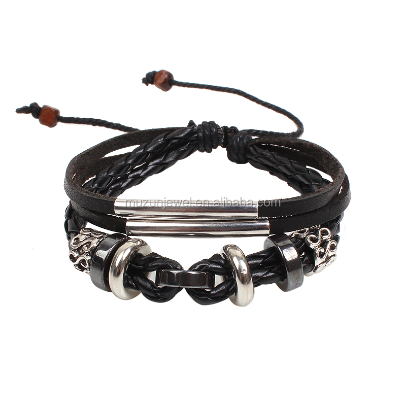Hot Multi Layer Punk Style Genuine Leather Woven Bracelet with Alloy Charm