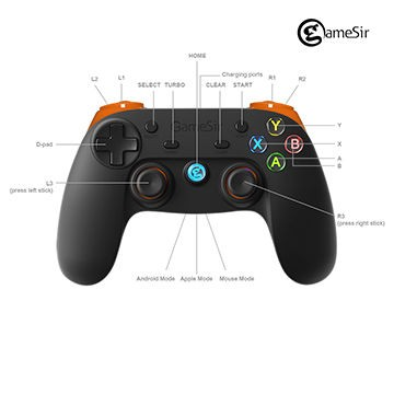 Gamesir android bluetooth gamepad vr box/vr glasses