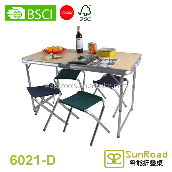 Picnic camping table folding bamboo table and chairs
