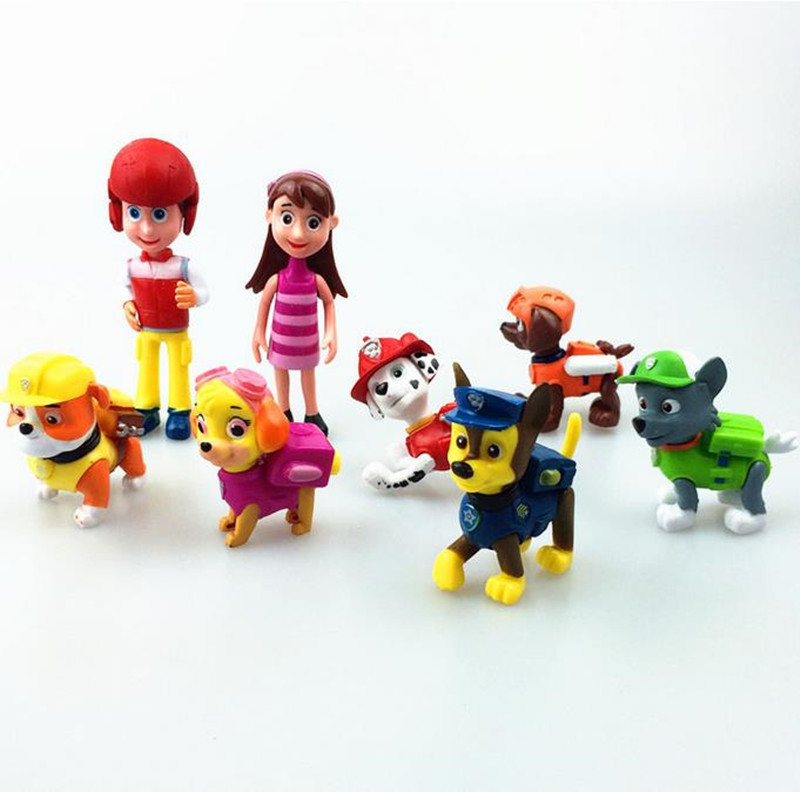8 pieces Action Toy Figures boys gift puppy static cartoon dog dolls Joint movable with shield