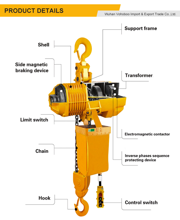 High quality 1t - 30t electric chain hoist with electric monorail trolley