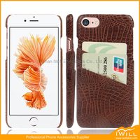 Premium Genuine Cayman Leather Wallet Card Holder Case for iPhone 7 Credit Card Slots, Also 100% fit for iPhone 8 case