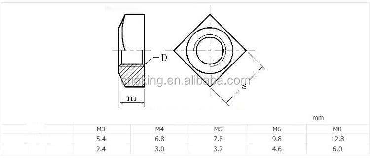 DIN 557 Vierkantmutter M 8 A4 blank