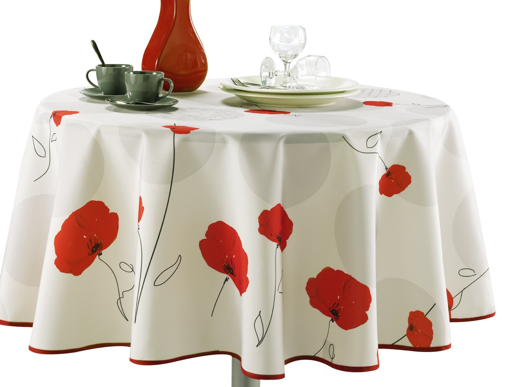 Get Quotations · 63 Inch Round Tablecloth Ivory White Red Poppy Flower,  Stain Resistant, Washable,