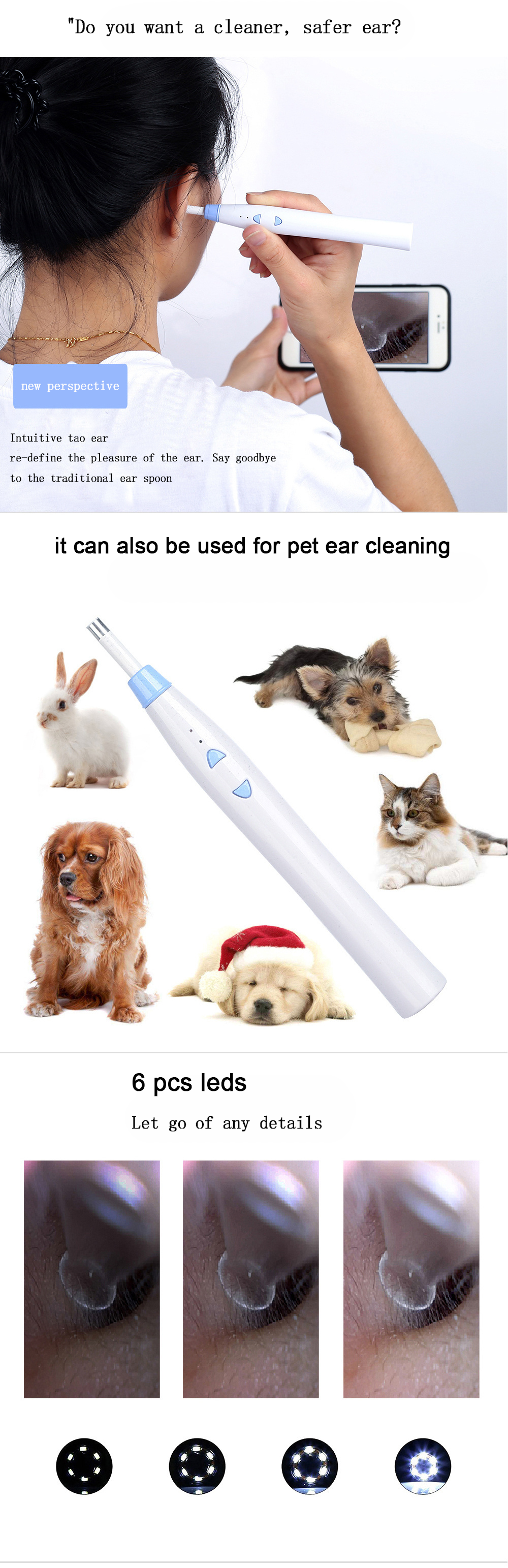 Colorful mini wifi usb ear cleaning tool android iso inspection camera ear endoscope with 6 led