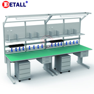 Detall assembly line esd adjustable table/workbench with steel frame