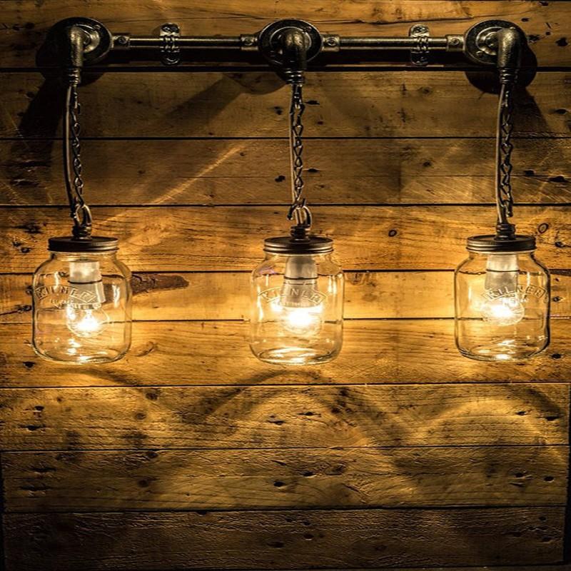 Modern Steel Vintage Conduit Hanging Gl Wall Light Steampunk Edison Bulb Water Pipe Lamp