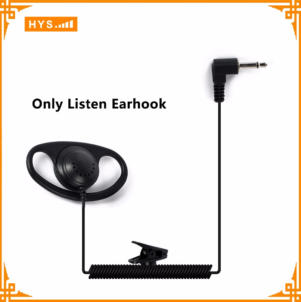 D Shape Earhook Listen Only Earphone Earpiece 3.5mm Plug for 2 Way Radio