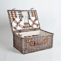 Square seagrass rattan willow baguette storage box organizers luxury picnic hamper suitcase set large wicker basket with lid