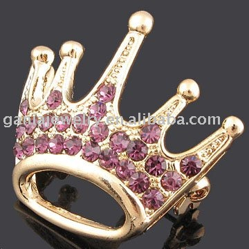 Purple Rhinestone Crown Brooch for Bag Decoration