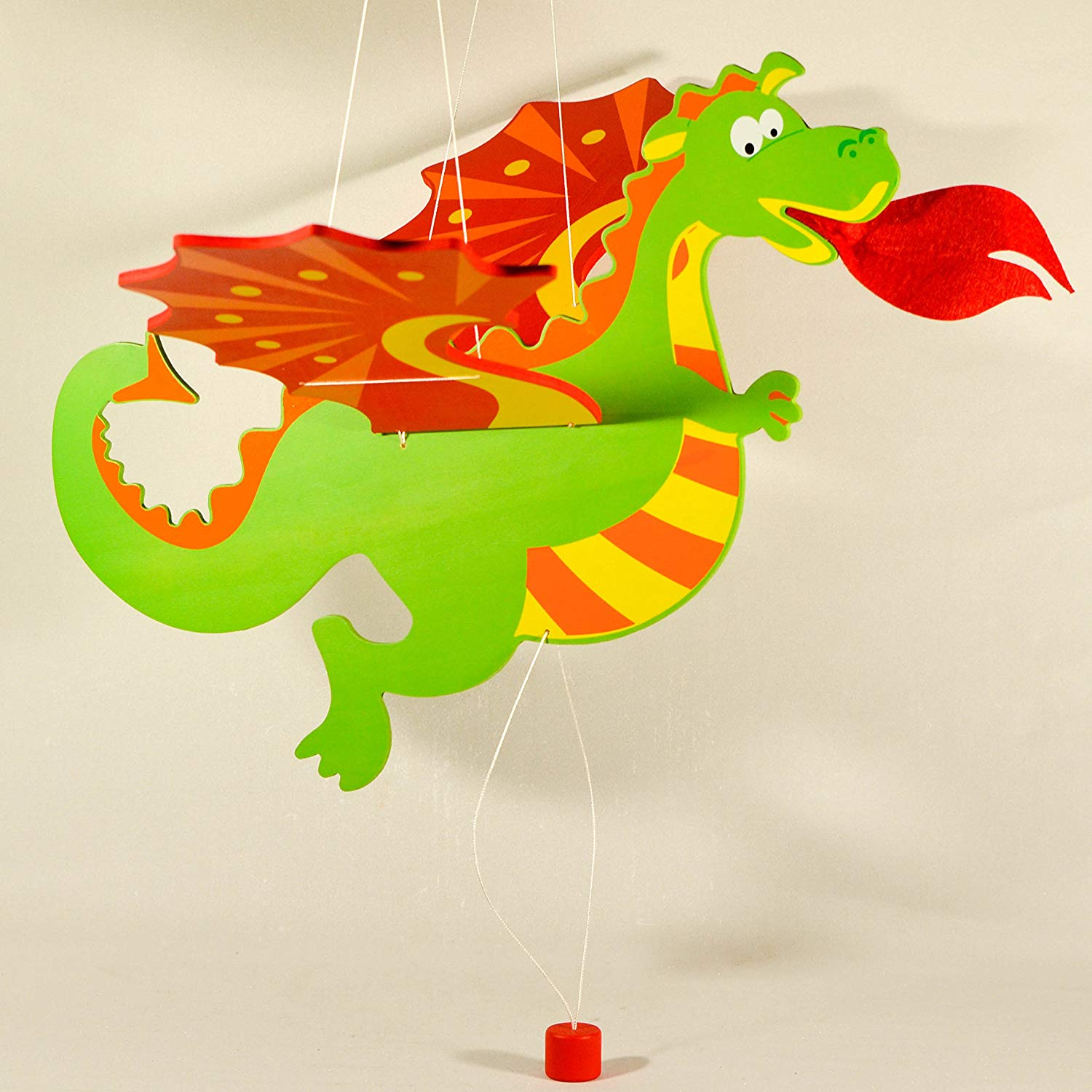 Wooden Hanging Mobile Dragon - Nursery Decor - Baby Mobile Ornament - Baby Room Decor - Novelty Dragon Decoration