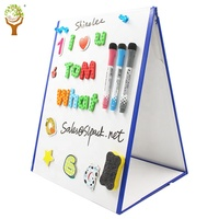 Amazon hot sell kids learhing tool desk table magnetic whiteboard easel triangle white board with magnet letter numbers
