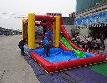 Fun kid playground inflatable bouncy castle with water slide