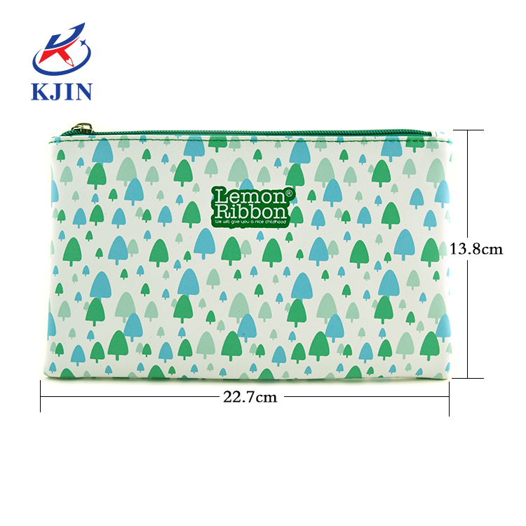 High quality fashion waterproof customized full printing design large capacity PU leather pencil pouch