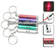 2 LED lights keychain with red laser pen with lighter
