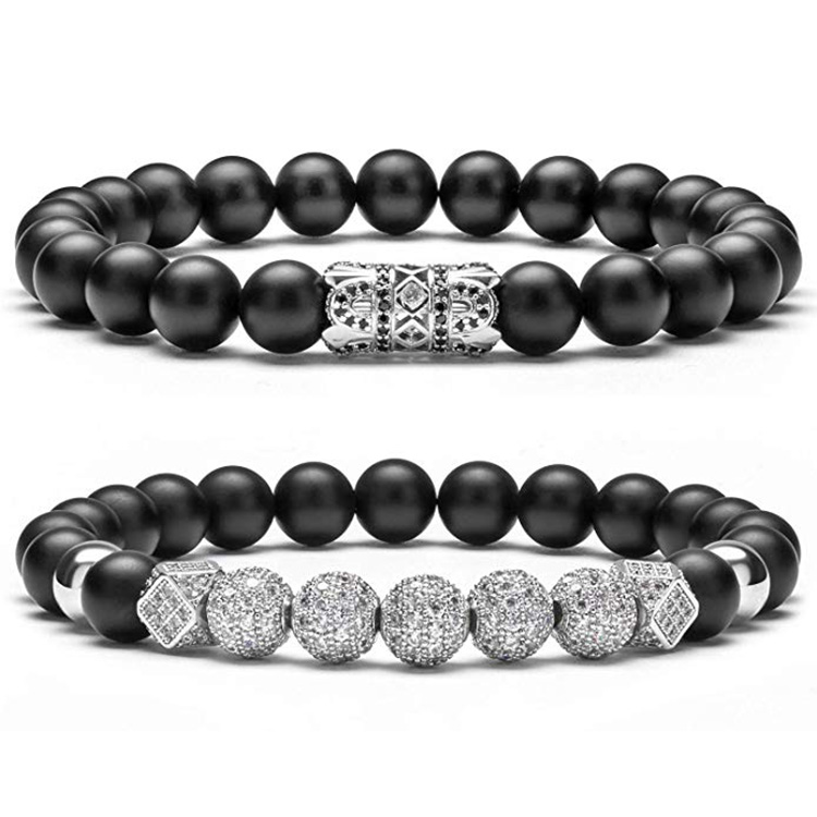 Micro Pace Cubic Zirconia CZ Charm Bracelets Set Wholesale New Fashion Black Matte Onyx Stone Bead Bracelet For Men Women