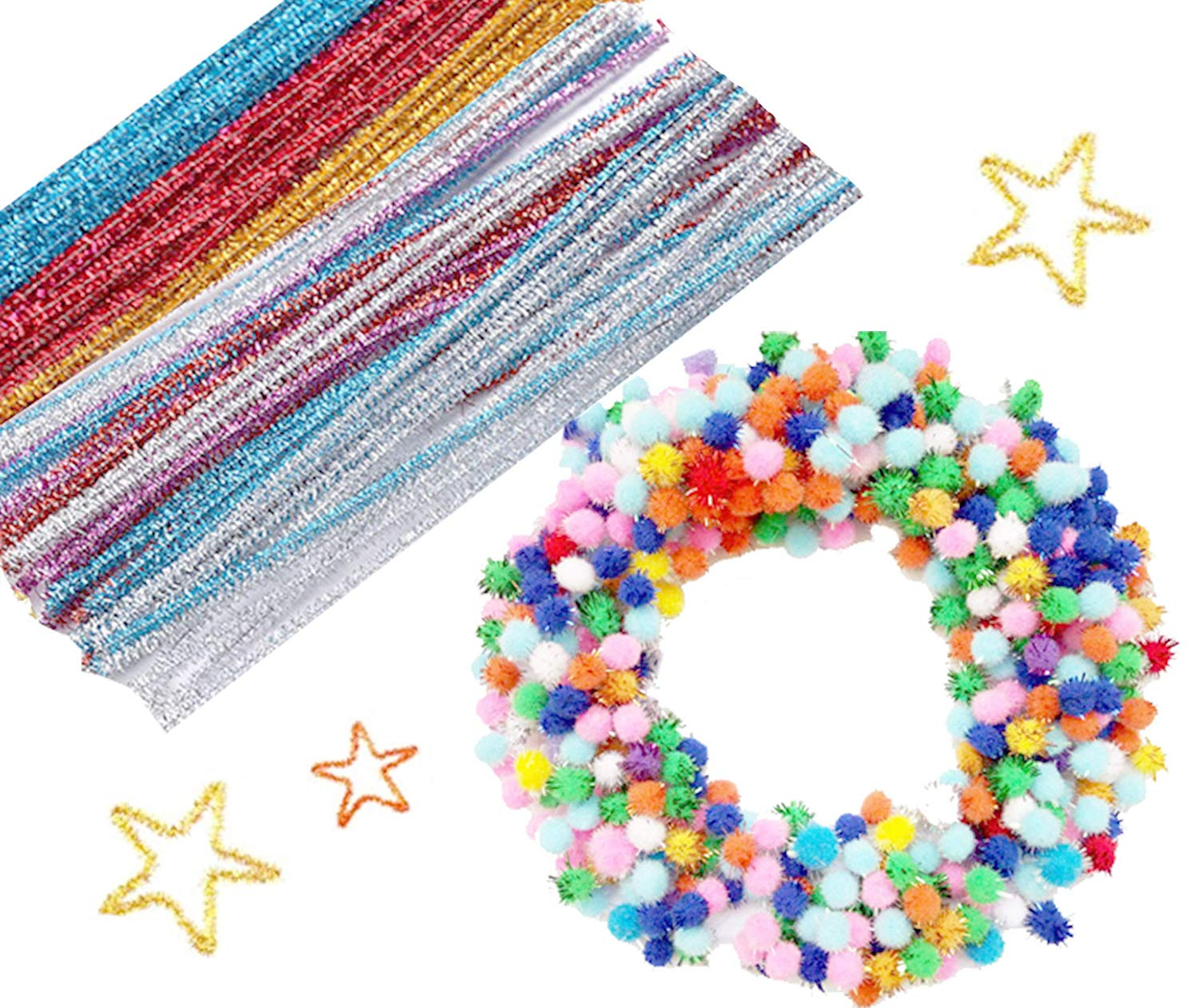 TBUY Pipe Cleaners Set Including 100 Pcs Glitter Chenille Stems and 1000 Pcs Pom Poms for Children DIY Craft Art Decorations