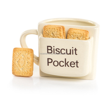 Hot! 350ml Ceramic biscuit cookie pocket coffee mug cup for promotion