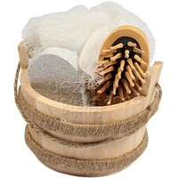 natural wooden body wash bath set