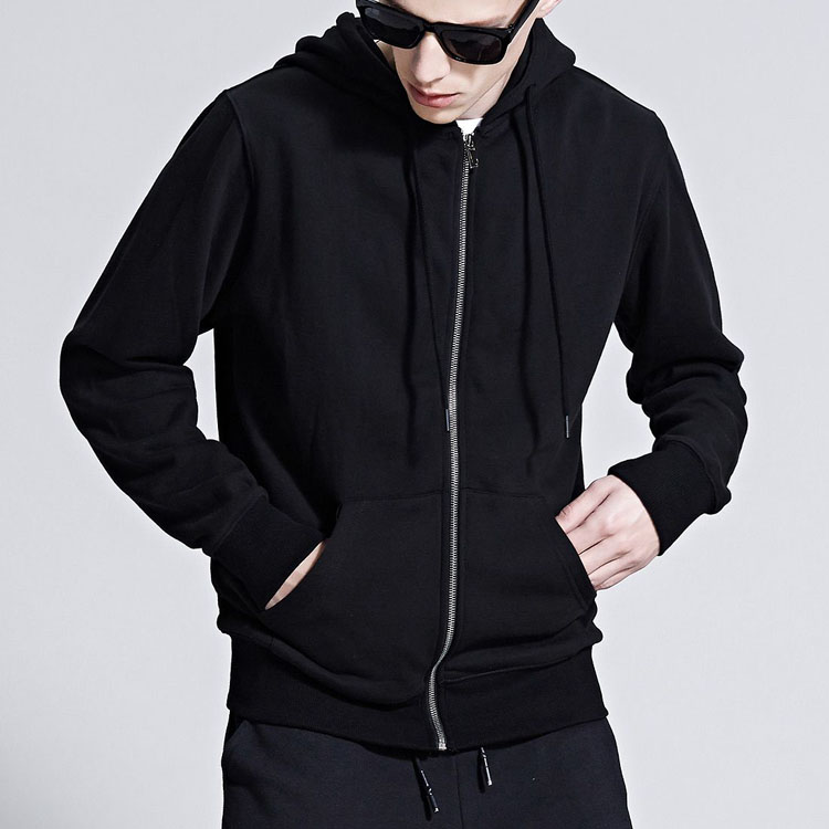 Wholesale Fashion Best-selling Men's Clothing Heavy Fleece Fabric Printing Black Zip Loong Sleeve Hoodie