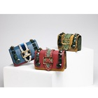 New Coloured Serpentine Rivet Small Square Bag Chain Hand-held Single Shoulder Slanting Leather Bag