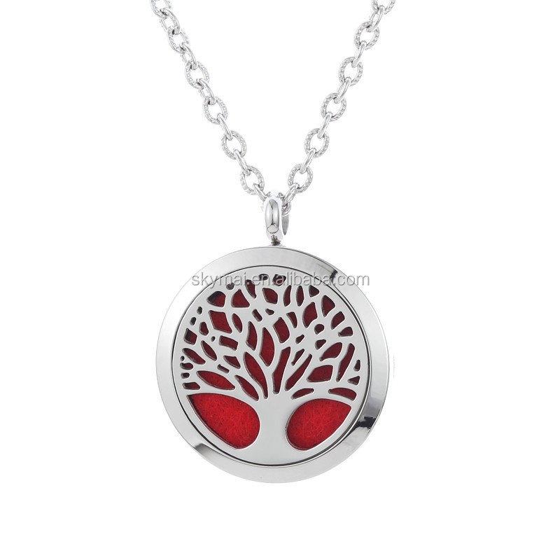 Essential Oil Diffuser Necklace,Tree of Life Surgical Grade 316l Stainless Steel Aromatherapy Pendant Jewelry Necklace