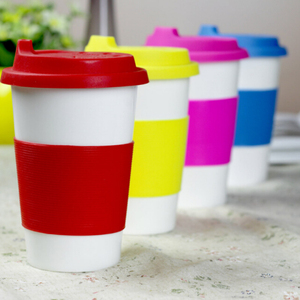 12OZ/350ML Ceramic Coffee Travel Cup with Silicone Sleeve and Cover