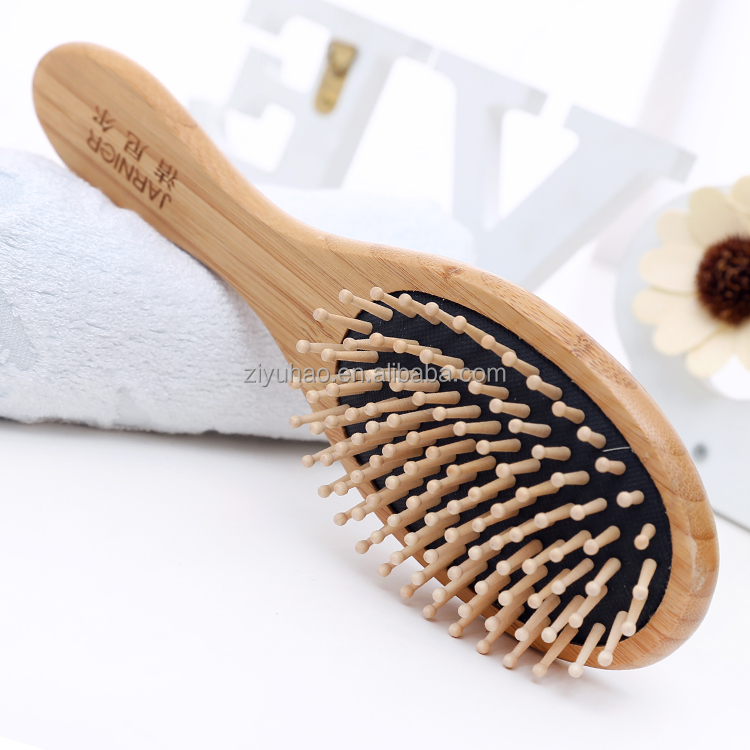 Bamboo hair brush with customer engraved logo, brush for long and short hair