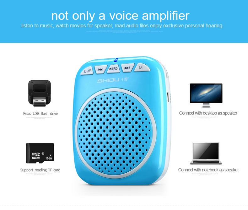 SHIDU SD-S711 UHF wireless voice amplifier with portable microphone speaker