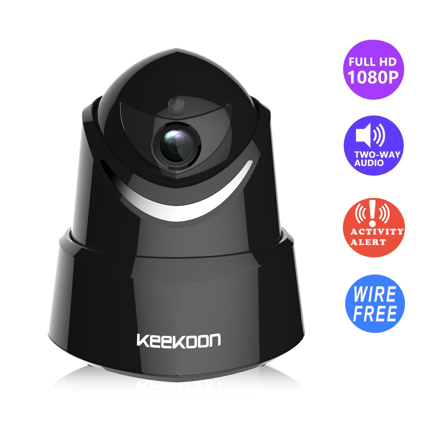 Indoor Security Camera Wireless, AEJOK 1080P HD Internet Security Motion Sensing Camera Black Wired IP Camera   Support 64GB SD Card & Motion Sensing & Pan/Tilt & Ios/Android App & Audio