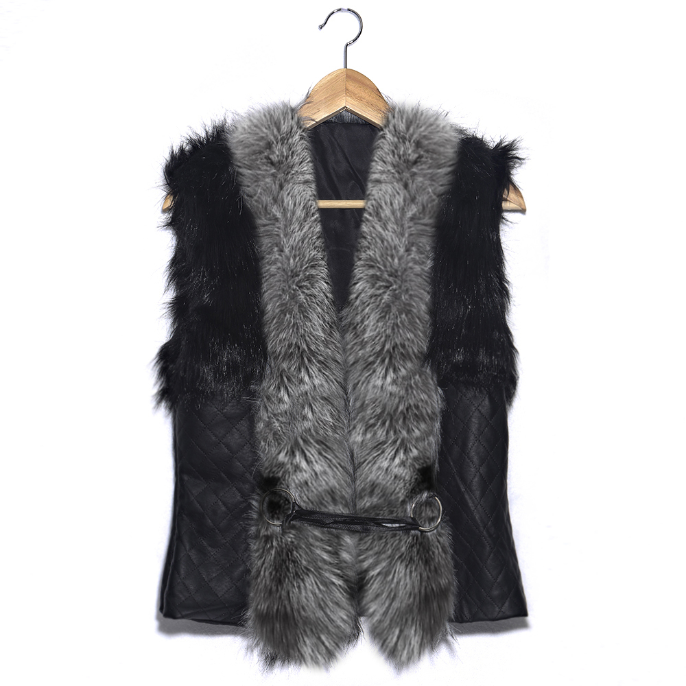 Hot New! Short Female Faux Fox Fur Vest Leather Plus Size Ladies Winter Gilet Outerwear Women's Vest Coat NZ194