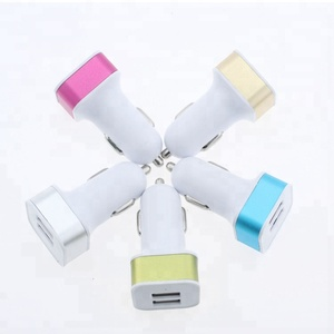 Aluminum Alloy Square Shape Dual USB Ports Colored Car Charger for Travel