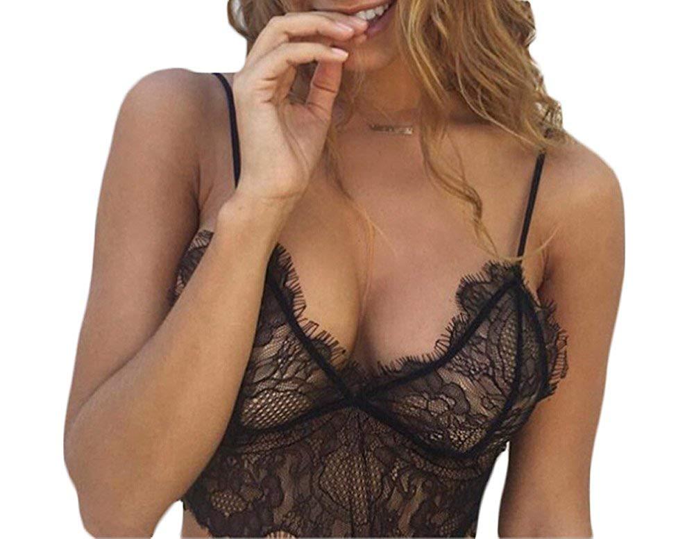 60ec380822 Get Quotations · MMIRAG Women Sexy Lingerie Lace Crop Top Spaghetti Strap  Floral Lace Vest Backless Bralette Bustier