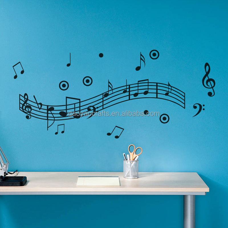 2017 Musical Note Wall Decals Creative Vinyl Wall Art Sticker Decor Dance in the Wind Music Notation Wall Stickers Music