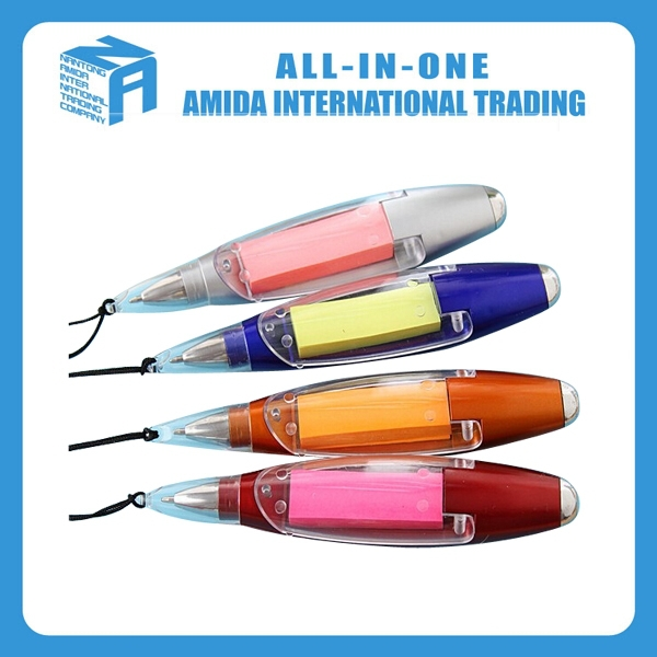 2015 high quality creative hang rope notes with LED lamp ballpoint pen
