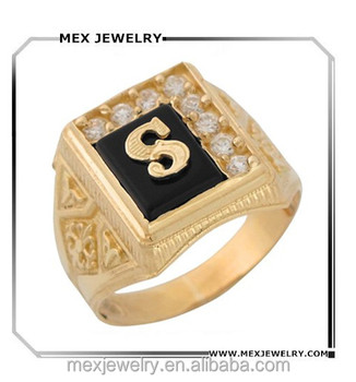 B Letter In Gold Ring Custom Gold Black Onyx...