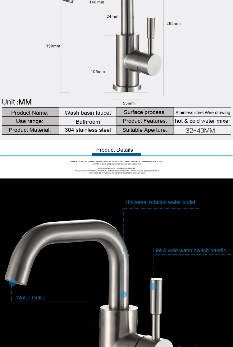 Modern Fashionable Bathroom Tap Hot & Cold Water Mixer Wash Basin Faucet