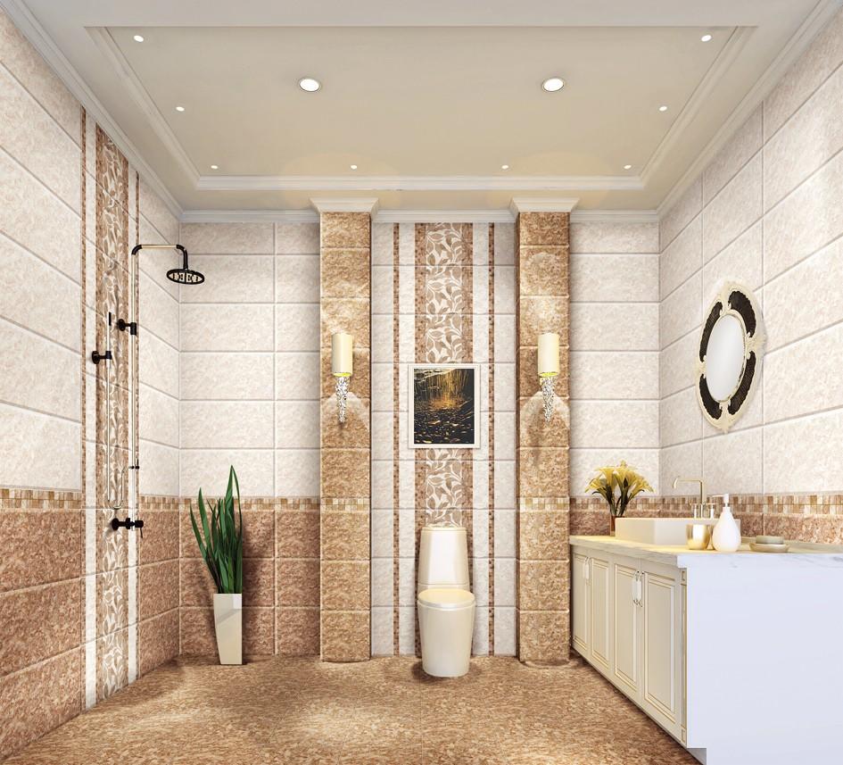 Bathroom non slip glazed ceramic wall tiles design indoor tile decor buy wall tiles price for Decorative wall tiles for bathroom