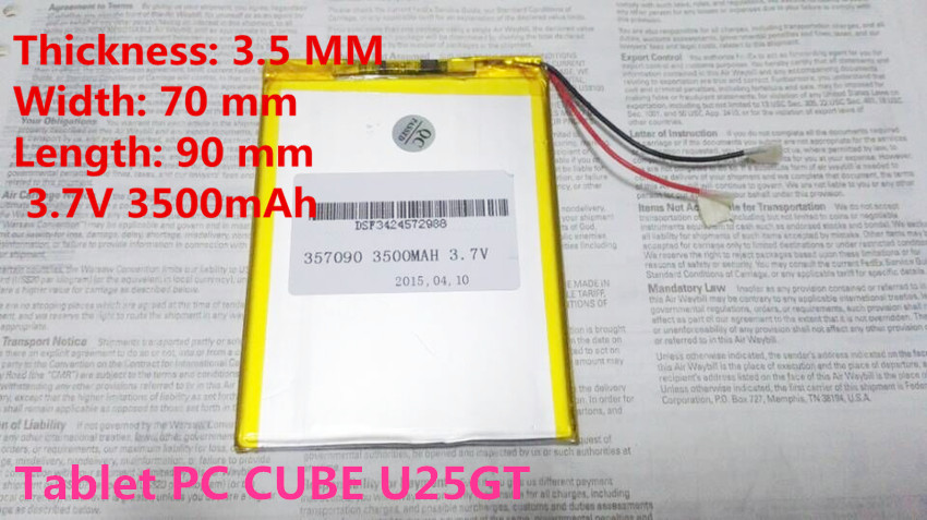 357090 3.7V 3500mAh Lithium polymer Battery with Protection Board For Tablet PC CUBE U25GT Free Shipping