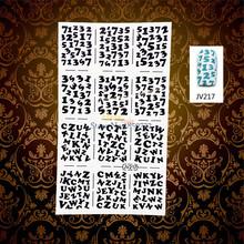 1PC English Letter Number Designs Nail Art Sticker Stencils HWJV217 Manicure Full Nail Vinyls Salon Styling