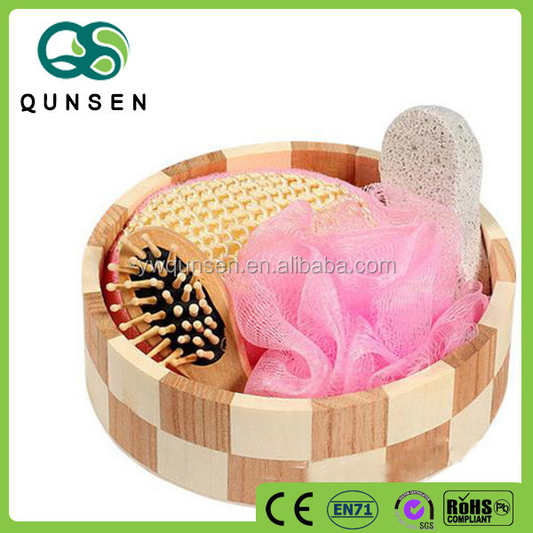 hot selling bath set gift with wooden bucket SPA set