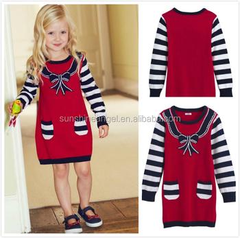 acfaae6b29a 2015 мода осень милый длинный рукав лук для маленьких девочек Вязаный  рождественский свитер платье От 3
