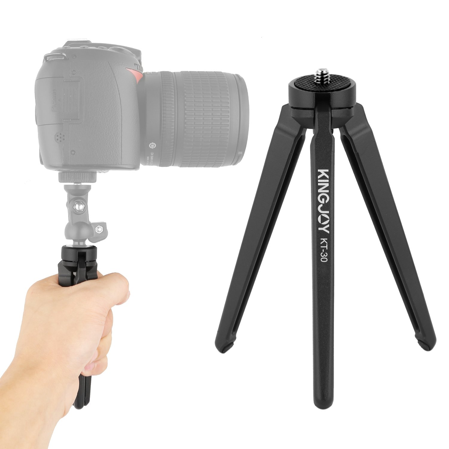 Mini Travel Tabletop Tripod Legs, Kingjue Portable Desktop Table Top Tripod Stand without Ball Head /Load up to 2.5kg/5.5lbs