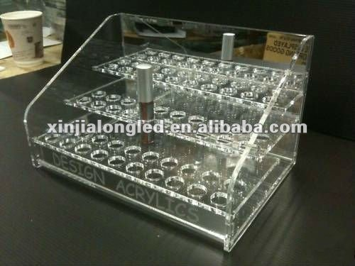 Clear Acrylic Nail Polish Cosmetic Display Stand Pure Acrylic Nail Polish Display Shelf Acrylic Cosmetic Display Tray 60 Holes