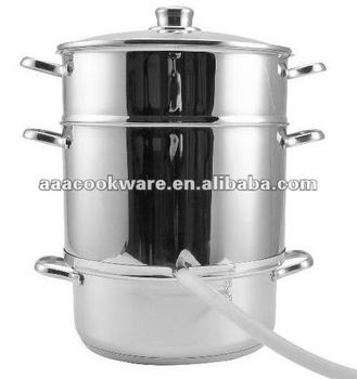 Hot sale in Russia Stainless Steel cookware 25CM 3 Tier(three-tier) Juice Cooker