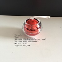 30g electroplate red acrylic apple shape jar/Luxury Acrylic cosmetic cream jar with gold magnet spoon