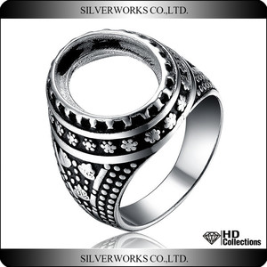 2018 hand made ring with European design big size man silver ring 925 sterling silver blank ring classic decoration