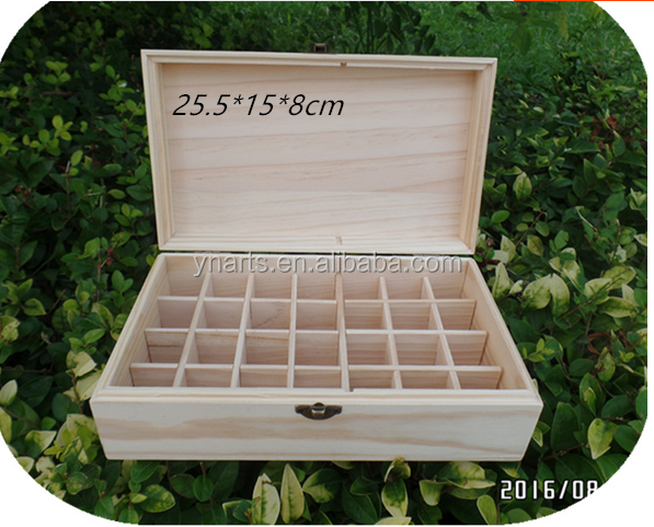 Factory supplier pine blank Aromatherapy 28 slots Wooden Essential Oil Box Essential oil storage case wooden wholesale
